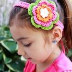 Crochet Flower Clip Headba..